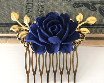 Wedding Hair Comb Bridesmaids Hair Accessories Navy Blue Flower Gold Leaves Dark Blue Bridal Headpiece