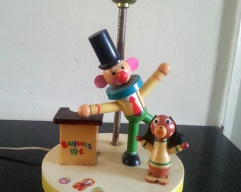 Clown and dog circus lamp vintage 60s
