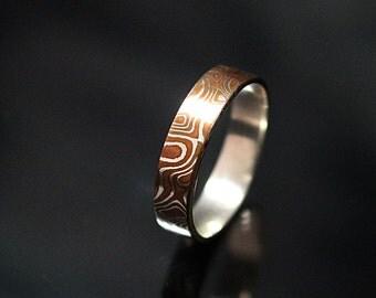 4mm wide ring Mokume Gane Ring Mokume Wedding Band Wood Grain Ring mokume band mokume ring band mokume ring wedding band mens mokume ring