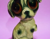 Vintage 70s Sad Eye Dog Figurine Ceramic Big Eyes Home Decor Animal Lover Gift Kitsch Retro