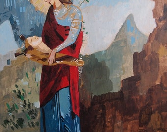 "Thracian girl carrying the head of Orpheus. Acrylic on Wood. 14"" x 18"" x 1"". Gustave Moreau Painting."