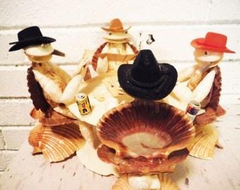 Shells playing poker beach kitsch folk art seashell seashells vintage man decor bar gambling cowboys humor