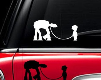 Star Wars inspired At-At and little girl/boy  Car Window Decal Sticker