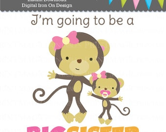 Monkey Big Sister Digital Iron On - Big Sister Digital Sticker Design - Pregnancy Announcement - Digital Tshirt Design