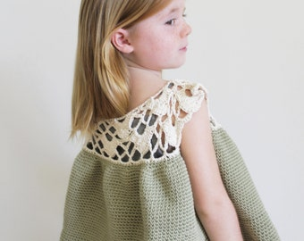 Crochet Pattern: TheChristina Top -Child Sizes 2 3 4 5 6 7 8 9 10- lace swing trapeze child natural