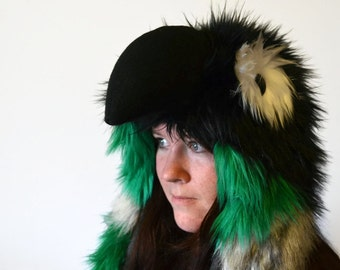 Green Cheek Conure Scoodie. Spirit Hood. Parrot Costume. Bird Hat.