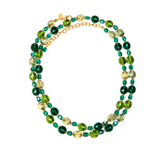 Joan rivers green crystal bead necklace designer jewelry for Joan rivers jewelry necklaces
