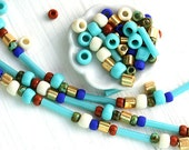 10g Turquoise Seed Beads Mix - Cleopatra - MayaHoney Special Mix, TOHO, golden, bugle, rocailles - S1022