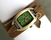 SALE 50% OFF: Wrap Watch with vintage tile pattern and little leaf. Brown suede. Boho. Watch for her.