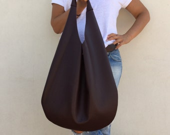Leather bag/ Hobo leather bag/ Bordeaux hobo bag/ Oversized bag