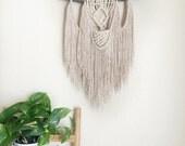 Boho Macrame Wall Hanging / Rustic Earthy Rope Tapestry / Tree Branch Yarn Hanging, Earthy Neutral / OOAK