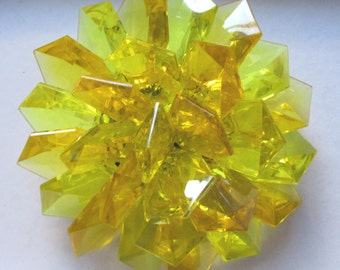 1960's Vintage Mod Yellow Sunshine Faceted Lucite Cluster Pin Brooch Hong Kong Vintage Costume Jewelry Summer Jewelry