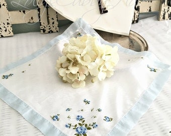Something Blue Hanky Bride Wedding Vintage Floral Cottage Chic Hanky Bridesmaid Hanky Farmhouse Mother's Day Handkerchief 13""