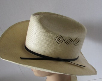 Western Cowboy Hat size XL/22 Sheplers Label summer straw weather proof
