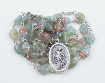 St. Michael Chaplet -- Green & Red Marbled Czech glass beads, Camo Camouflage - Patron of Soldiers, Doctors, Mariners, Police, and Sickness