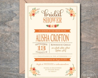 Fall Bridal Shower Invitation, Fall Bridal Shower Invite, Bridal Luncheon Invitation, Invitation, Invite, Printable,