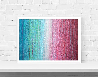 Teal & Pink Abstract Wall Art Print - 'dusky Sunday' Abstract Impressionist Wall Art Print Of Original Painting By Louise Mead
