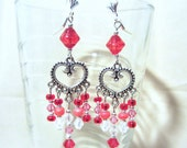 Red & Silver Open Heart Beaded Chandelier Lever Back Earrings, Handmade Original Fashion Jewelry, Bold Sophisticated Romantic Valentine Gift