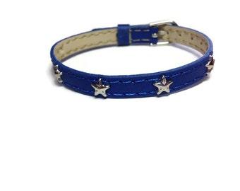 Star Bracelet - Star Studded Blue Bracelet  - Blue Star Wristband - Patriotic Bracelet - Patriotic Wristband