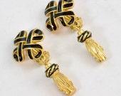 Museum of Fine Arts Clip on Earrings - Tassel and Knot with Black Enamel Earrings; MFA Boston Vintage Jewelry - Drop Earrings w Black Enamel