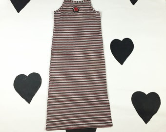 90s Ribbed Striped Maxi Dress with Daisy Applique and Spaghetti Straps / Halter Neck / Midi / Grey / Red / Club Kid / Clueless / Rave / S