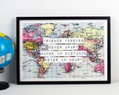 Friend Print, World Map Poster, Long Distance Friendship, Travel Poster, Friend Quote, World Map Print, A3, Map of World, Best Friend, Gift