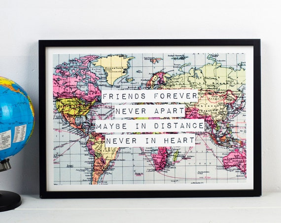 Friend print world map poster long distance friendship like this item gumiabroncs Image collections