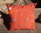 Pillow Cover With Embroidered Tribal Hmong Vintage Baby Carrier