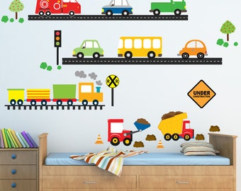 Cars Airplanes Truck Wall Decals, Reusable Fabric Decals, Ecofriendly No Toxins No PVCs Decals, WD94