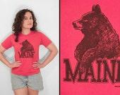 MAINE Bear Tee 1990s Red 50/50 Blend Unisex Shirt Women's Small Men's XS