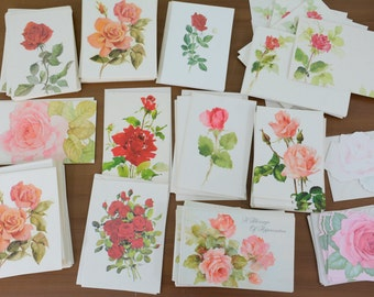 75+ Piece Lot Vintage Roses Blank Greeting Cards