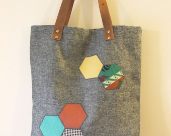 Organic Denim Tote Bag with leather handles - geometric patchwork hexagons, up-cycled fabric