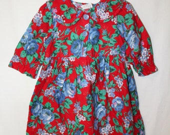 Vintage Toddler Girl Floral Print Dress with Sun Hat complete with Bow and Pleats Size 4T