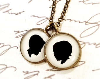 Mother's Day Two Medium Size Pendant Brass Necklace with Custom Child or Pet Silhouettes for Mother or Grandmother