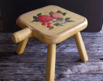 Vintage footstool handmade tole painted footstool milking stool rustic decor farmhouse decor folk-art vintage decor