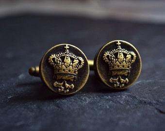 mens accessories, skull cufflinks cuff links, King crown cufflinks, groom mens jewelry, bronze cuff links