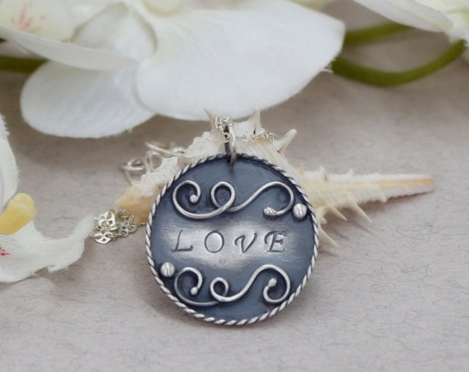 Love Pendant Love Necklace Hand Stamped Jewelry Disk Necklace Gift for Her Anniversary Gift Personalized Gift Personalized Jewelry