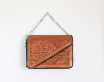 70's Rustic Tooled Leather Saddle Handbag