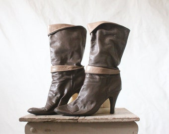 c1970's Taupe Leather Slouch Boots Sz 8