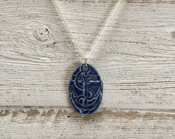 Ceramic Anchor Pendant, Royal Blue, Nautical, Unique Gift, Ocean, Anchors, Gift for Her, Seaside, Handmade, Ceramics, Ceramic Jewelry