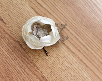 Ivory and burlap flower bobby pin.