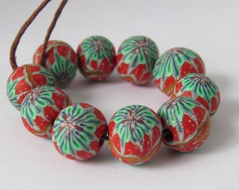 Beads, Red, Green and Gold Beads, Handmade, polymer clay,  beads,  DIY Crafts, Jewelry Supply, Christmas beads, Shygar beads, 10 pieces