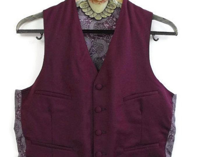 70's Men's Wine Wool Waistcoat - Burgundy Steampunk Men's Vest - Medallion Printed Rayon Back - Self Belt - Men's Size 40 to 42