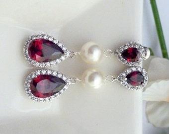 Crystal Pearl Bridal Earrings Silver Red Garnet Peardrop Cubic Zirconia Matching Posts Bridal Jewelry Wedding Jewelry Pearl Earrings