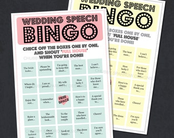 Wedding Speech Bingo Game, reception entertainment, Best man speeches, Father of the groom, childrens game,Print at home DIGITAL A5