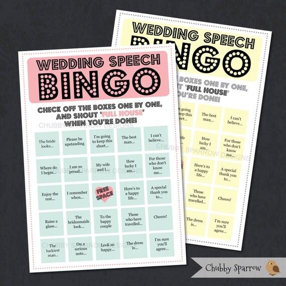 Wedding Speech Bingo Game Reception Entertainment Best Man