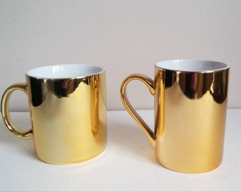 HIs and Her Gold Tone Mugs