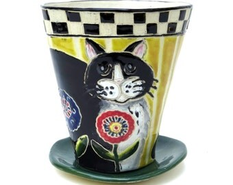 Stoneware FLOWER POT & Saucer, Hand Built - Big Black CAT, Folk Art Inspired, Outdoor or Indoor Use