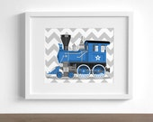 Boy art print - Vintage Train wall art - Engine number 9 - childrens wall art - pick your colors - locomotive art