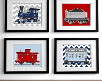 Train nursery art - railroad art prints - set of 4 unfraramed childrens art prints - rail way steam engine nursery art prints for boys